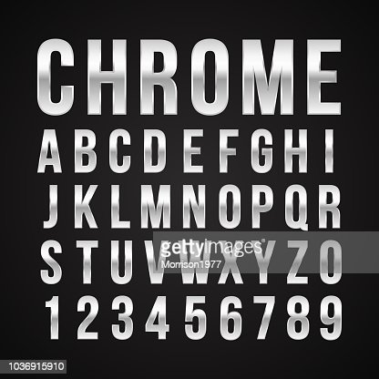 Font alphabet number chrome effect vector : stock vector