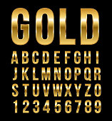 Font alphabet number gold effect in vector format