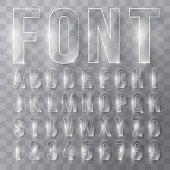 Font alphabet numbers transparent effect in vector format