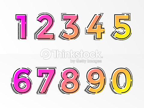 Fuente Números Letras Números Sets Vector Gradiente De Color De ...
