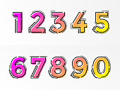Modern alphabet set with numbers. Vector abstract font with gradient color and line design on white background for poster title headline or corporate identity typography.