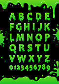 Font of green slime. Blot alphabet. Letters and numbers with green glaze. Vector poster