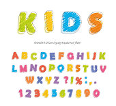 Font pencil crayon. For kids. Handwritten, scribble Vector illustration