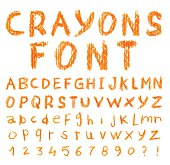 Font pencil crayon. Handwritten Vector illustration.