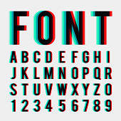 font stereoscopic 3d effect in vector format