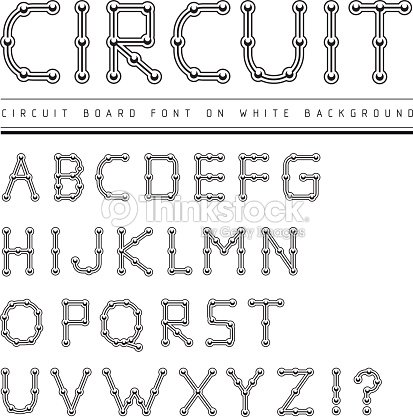 Font Stylized Track Electronic Circuit Board Vector Art | Thinkstock