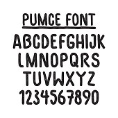 Simple universal font, in a set of numbers and capital letters. Imitation letters marker with a round tip