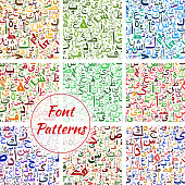 Font pattern designed of Arabic letters and numbers. Eastern Arabian, Persian or Iranian Farsi ornate cursive script writings of Islamic abjad alphabet calligraphy lettering type. Vector seamless gree