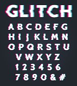Font with glitch effect. Glitched digital alphabet, type letters with old tv screen distortion vector illustration
