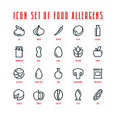 Food allergens icons set in thin line style. Isolated on white background