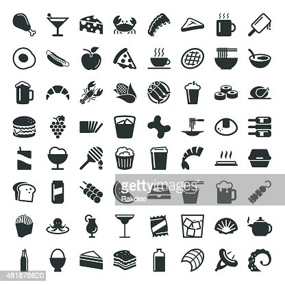 food and drink 64 icons white series vector art getty images