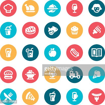 food and drink icons vector art getty images