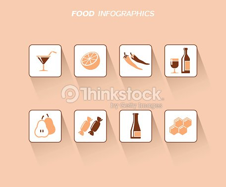 Food and drink infographis design with flat icons