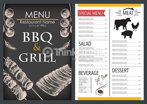 food and drink menu draw restaurant brochure design template vector