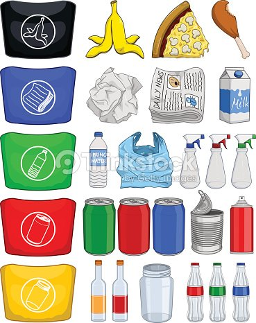 bouteilles de papier poubelle de recyclage de canettes pack clipart vectoriel thinkstock. Black Bedroom Furniture Sets. Home Design Ideas