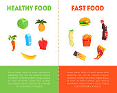 Food Choice, Healthy and Junk Food Banner Template with Place for Text, Fresh Vegetables or Fast Food Vector Illustration, Web Design