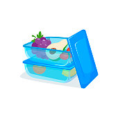 Several food containers stacked on top of each other for storing in fridge