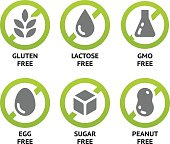 Set of food labels for GMO free, sugar free and allergen free products. EPS 10. CMYK