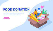 Box with food donation. Can use for web banner, infographics, hero images. Flat isometric vector illustration isolated on white background.