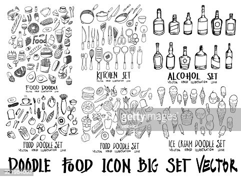 Nourriture doodle illustration papier peint fond croquis style de ligne situé sur le tableau noir eps10 : clipart vectoriel