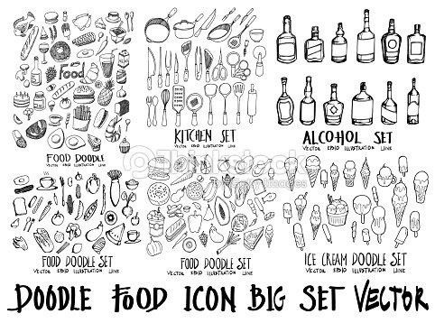 Alimentos doodle ilustración wallpaper fondo dibujo estilo de línea en pizarra eps10 : arte vectorial