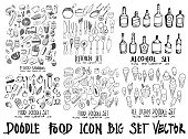 Food doodle illustration wallpaper background line sketch style set on chalkboard