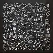 Food doodles chalkboard collection. Hand drawn icons. Freehand chalk drawing. Vector Illustration.EPS10, Ai10, PDF, High-Res JPEG included.