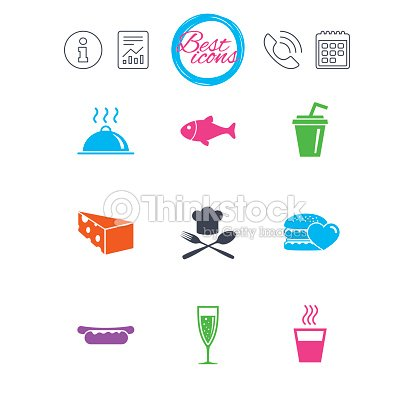 Food, drink icons. Alcohol, fish and burger.