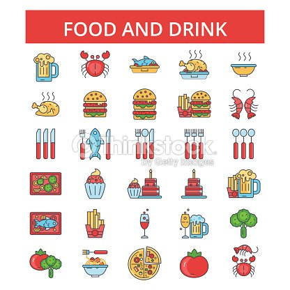 Food drinks illustration, thin line icons, linear flat signs, vector symbols, outline pictograms set, editable strokes