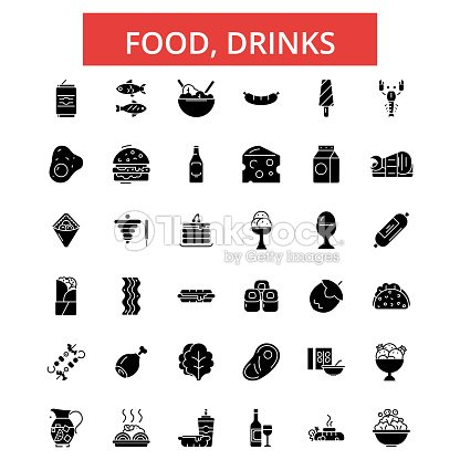 Food, drinks illustration, thin line icons, linear flat signs, vector symbols, outline pictograms set, editable strokes