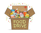 Food Drive charity movement symbol vector illustration