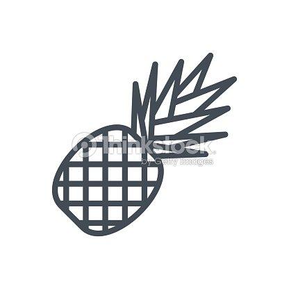 Food Fruits Line Icon Pineapple