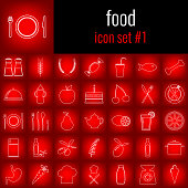 Food. Icon set 1. White line icon on red gradient backgrpund.