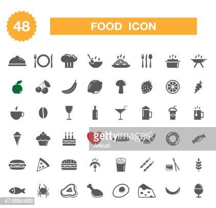 Icone alimentari-set : Arte vettoriale