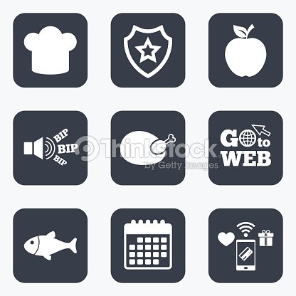 Food Icons Apple Fruit With Leaf Symbol Vector Art Thinkstock