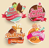 Food, Label, Sticker, Bakery, Ice Cream, Candy, Sweet Bakery, Template, Symbol, Sign, Shop
