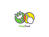 Food like icon. Fork and Spoon inside circles. Catering concept. Flat line vector illustration.