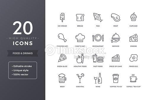 Food Line Icons : stock vector