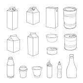 Pack set. Different package outline doodle drawn icon collection.