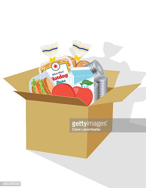 Food packed in a cardboard box