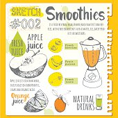 Vector funny illustration with natural juices drinks: smoothies, lemonade and kitchen equipment. Detox. Healthy lifestyle