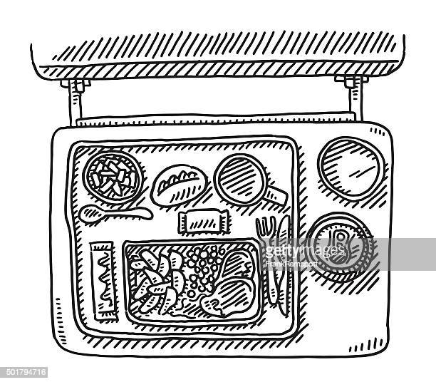 Food Tray On Airplane Drawing