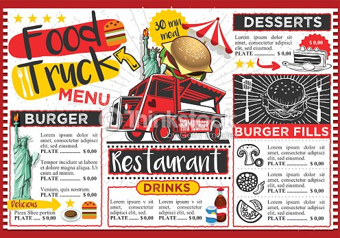 Food Truck Vector Festival Menu Template Design Clipart Vectoriel