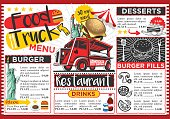 Food truck festival vector menu template design.