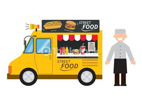food truck hamburgerhot dog street food vector art thinkstock. Black Bedroom Furniture Sets. Home Design Ideas