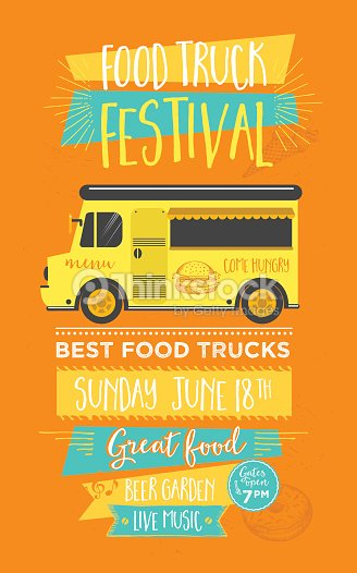 Food Truck Party Invitation Menu Template Design