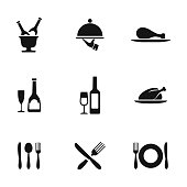 Food vector icons. Simple illustration set of 9 food elements, editable icons, can be used in logo, UI and web design