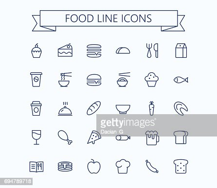 Food vector mini icons set. Thin line outline 24 x 24 Grid.Pixel Perfect : Arte vetorial