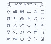 Food vector mini icons set. Thin line outline 24 x 24 Grid.Pixel Perfect. esp 10