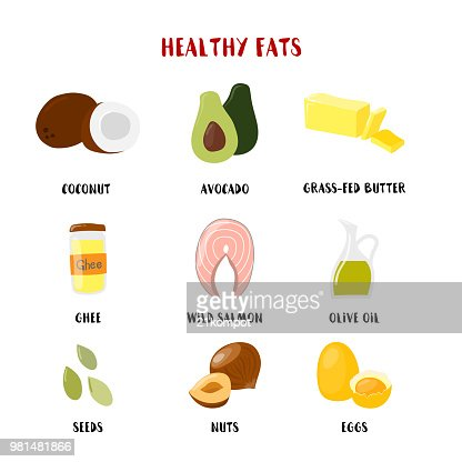 Food with Healthy fats and oils icons set isolated on white. Vector cartoon style illustration : stock vector